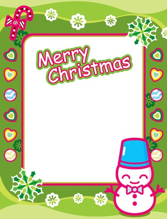 Christmas Frame with Snowman Illustration