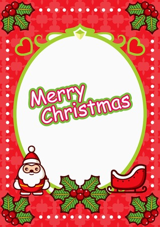Christmas Oval Frame  Background with Santa Vector