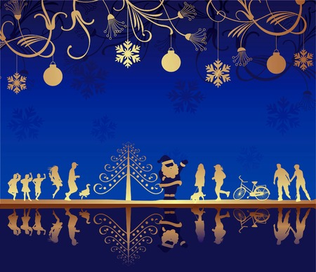 Abstract Blue Christmas Background Illustration