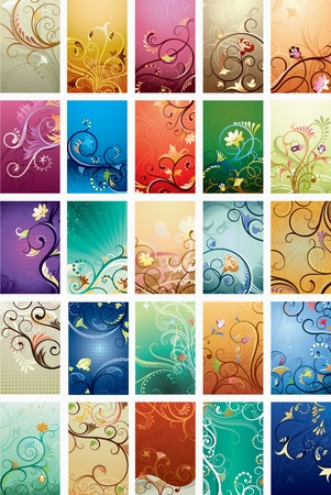 emit: Abstract Floral Background Set Illustration