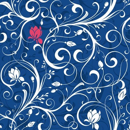Seamless Floral Scroll Pattern 4 Illustration