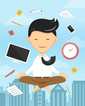 tranquil scene on urban scene: businessman yoga relaxation Illustration