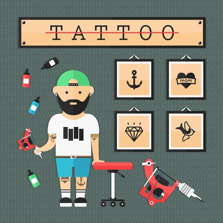 フラット タトゥー アーティスト  イラスト・ベクター素材