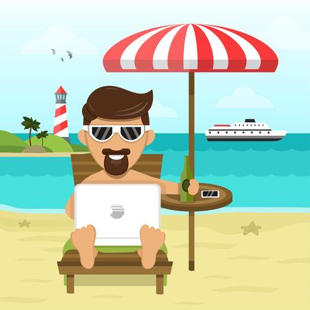 op het strand freelance Werk & Rest flat illustratie Stock Illustratie