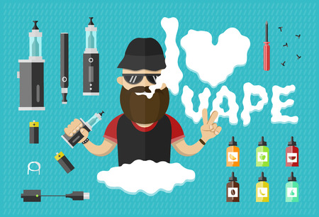 flat illustration of man with vape and vape icons Vectores
