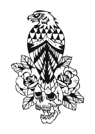 remains: eagle and skull tattoo
