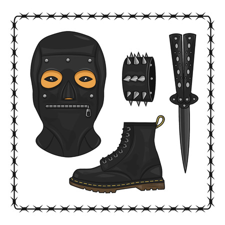 bdsm: bdsm mask and knife Illustration