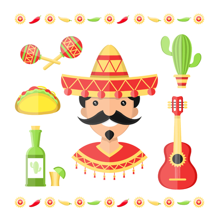 Vector mexico flat illustration icons
