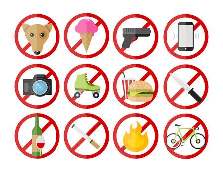 Vector prohibitory signs icons set: no smoking, no dogs, no fire, no cameras, no ice cream, no cell phones, no bicycles, no guns, no alcohol. no food, no rollers, no knife Illustration
