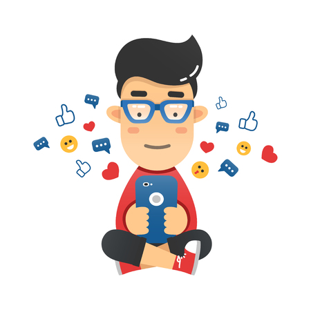 media gadget: Young man sitting and sending a message via chat to someone using his smartphone. Vector flat illustration of the mobile chat with friends Illustration
