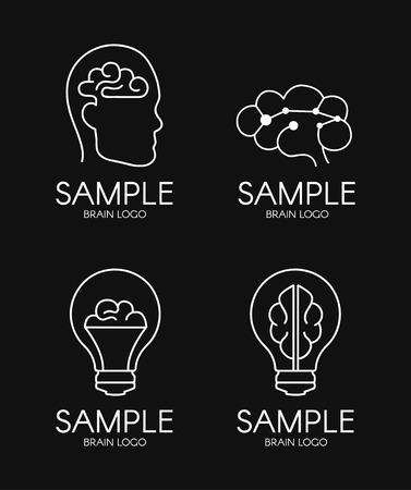 brain psychology idea creative logo design on black background