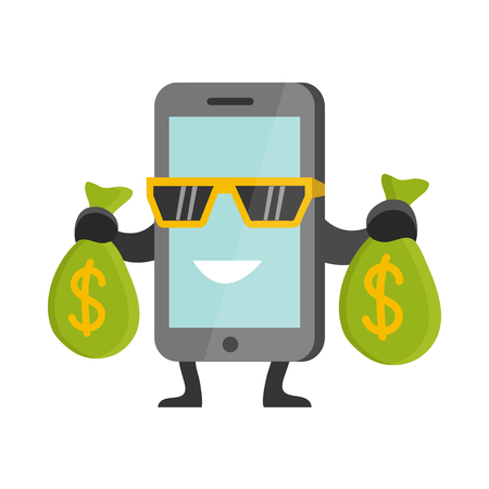 earning: Flat Business Concept Cartoon Smartphone Character Earning Money