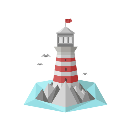 lllustration: Flat lighthouse vector lllustration Illustration