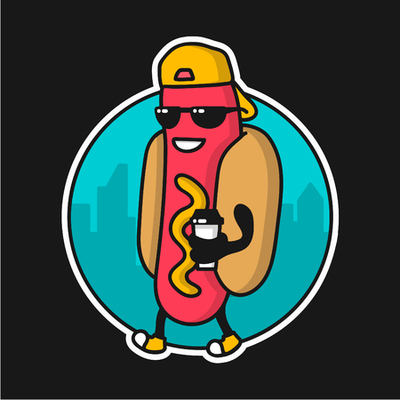 wiener: Cool Guy Hotdog character with coffee cap walking on the street. template design, badge for fast food restaurant Illustration