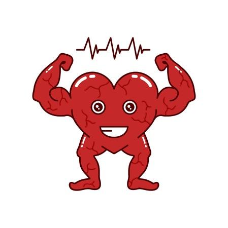 Strong heart character vector design fitness art