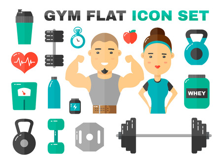 Gym Flat Icons Vector Art Set. male and female sport fitness coach character