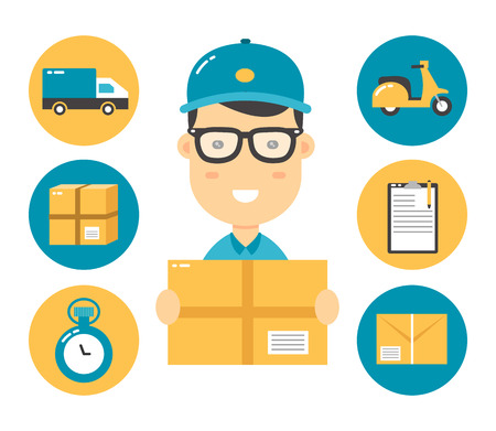 courier flat character and delivery flat illustration icons. isolated on white background.