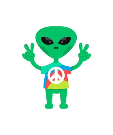 friendly hippie alien flat cartoon charater. come in peace. isolated on white background