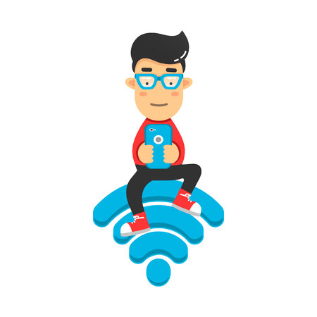 likes: Young man in internet from phone sitting on wifi emblem. flat illustration isolated on white background
