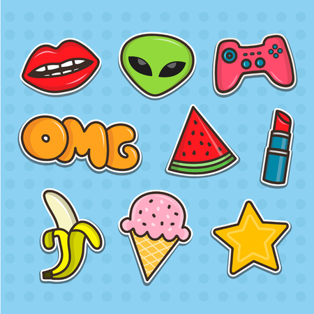 patches: Set of cartoon teenager stickers. Flat line illustrations. Patches collection Illustration
