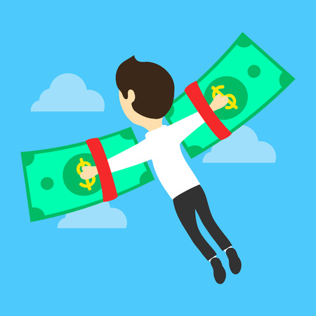 financial concept: Business concept money is freedom. Flat vector illustration. Businessman on the dollar-wings. Financial independence