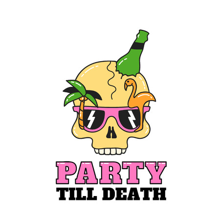 Party skull design for flyers or t-shirt. Illustration isolated on white background