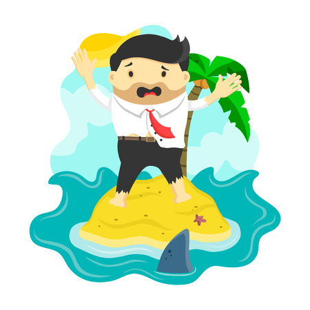 castaway: vector flat illustration of businessman stranded in an island surrounded by shark, danger, business risk, bankruptcy concept,