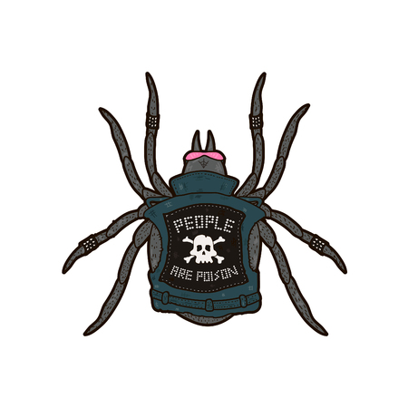 Spider punk. People are poison. T-shirt print design. Isolated on white background