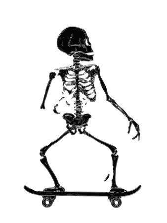 Skeleton Skating Vector illustration print isolated on white background Illustration