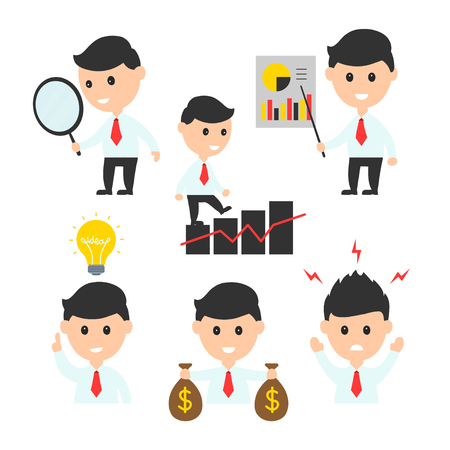 businessman flat design character illustration icon set for presentations or web sites. isolated on white background