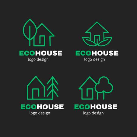Eco Green House modern line vector design set. Ecology building concept. Illustration