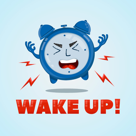 Angry alarm clock flat character illustration. Wake-up time concept
