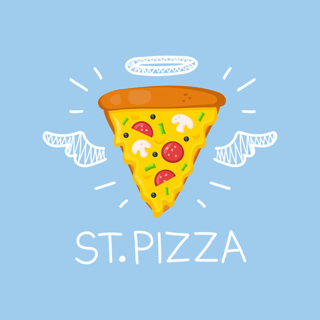 Pizza concept St. Pizza with angel halo and wings. Flat and doodle vector isolated illustration