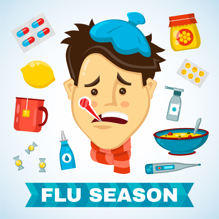 Sick man with thermometer in his mouth vector flat illustration character. Flat icon set of cold and flu season items Vectores