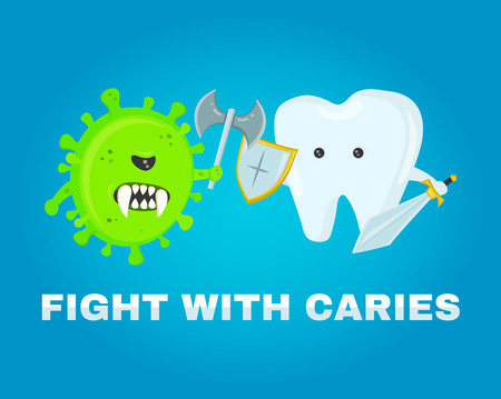 fighting tooth with cavities. healthy teeth concept. disease battle. attacked by germs of cavities. flat illustration vector