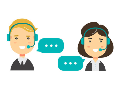 Vector flat character icons Male and female call center avatars. conceptual of communication.isolated on white background