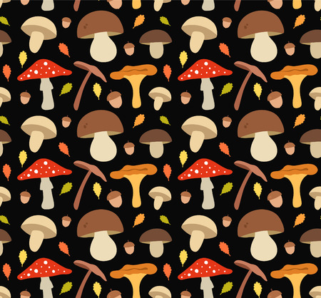 boletus: Mushroom flat illustration seamless vector pattern. Isolated on black background Illustration