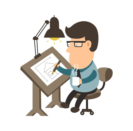draftsman: Architect working on desk. House project. draftsman flat illustration character design. Isolated on white background