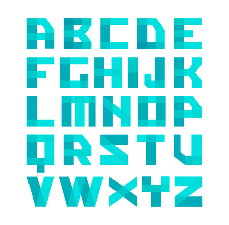 Geometric Shapes Blue Font Alphabet Overlay Transparent Style Letters Easy Color Tint Ability