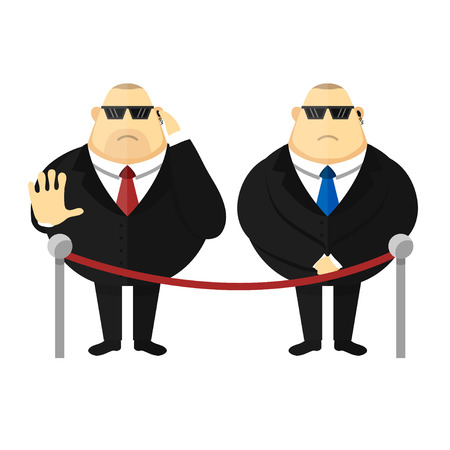 security man: Face control. Security man. Vector cartoon illustration isolated on white background