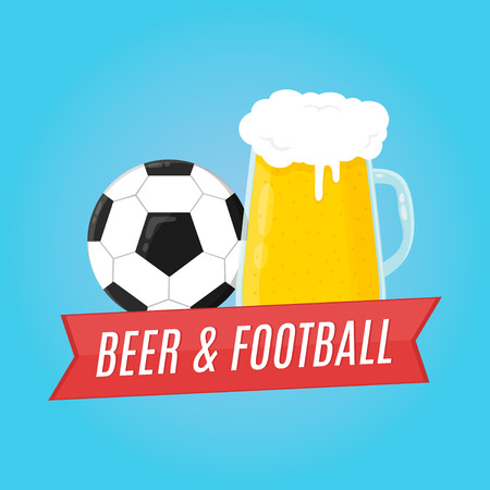 flue: Beer and football illustration. Concept for bar