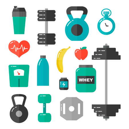 Gym, healthcare and sport flat design illustration icon set. Isolated on white background Illustration