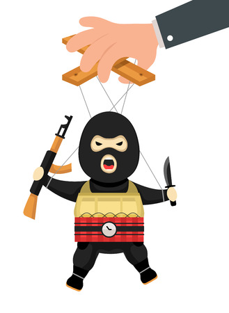 manipulate: Terrorist puppet with gun, bomb and knife on ropes. Terrorist marionette on ropes controlled. Business manipulate behind scene concept. Vector flat cartoon illustration isolated on white background