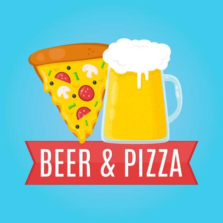 Beer and Pizza flat design illustration. Food concept Иллюстрация