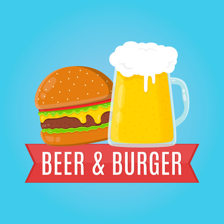 Beer and burger flat design illustration. Food concept Illusztráció