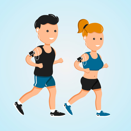 Young sport fitness men and women running vector flat characters illustration Illustration