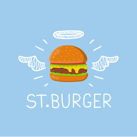 Burger concept St. Burger with angel halo and wings. Flat and doodle vector isolated illustration