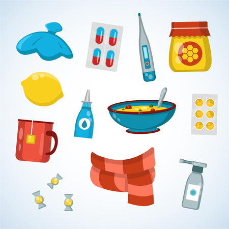 Flat vector illustration icon set of cold, sick, home treatment, flu season