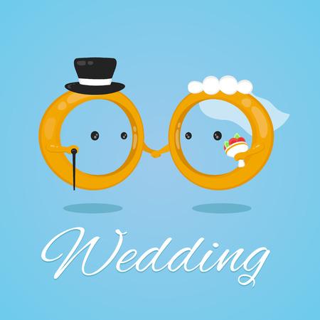 Anello di nozze carattere vettoriale design piatto fumetto illustrazione. sposa e sposo
