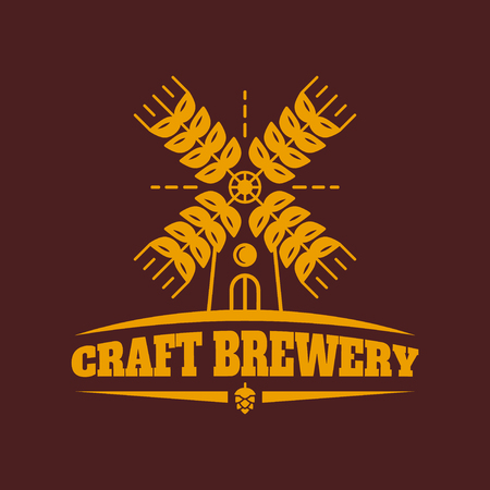 ipa: Craft brewery vector vintage retro with mill and ears